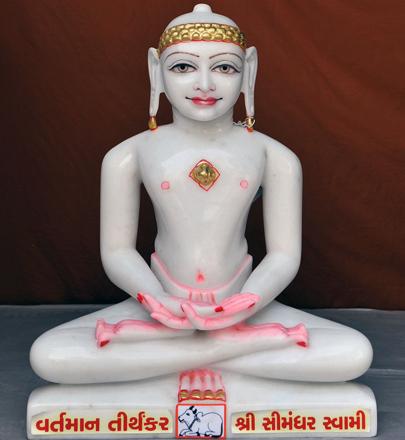"""Picture of 17SW6  Super White Simandhar Swami 17"""" Murti 17SW6"""