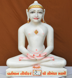 "Picture of 19SW1  Super White Simandhar Swami 19"" Murti 19SW1"