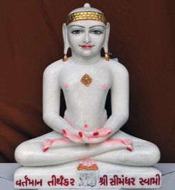 "Picture of 23S7  Super White Simandhar Swami 23"" Murti 23S7"