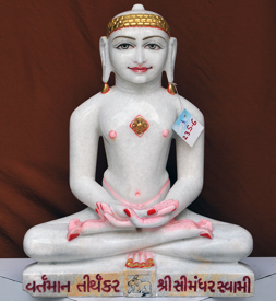 "Picture of 23S6  Super White Simandhar Swami 23"" Murti 23S6"