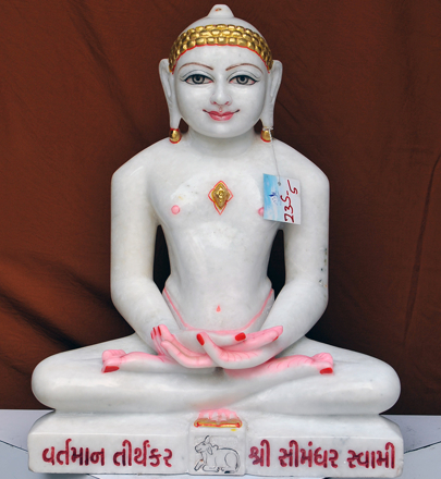 """Picture of 23S5 Super White Simandhar Swami 23"""" Murti 23S5"""