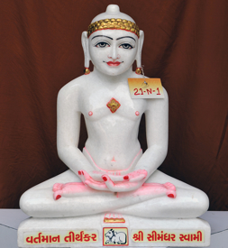 "Picture of 21N1 Normal White Simandhar Swami 21"" Murti 21N1"