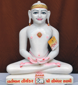 "Picture of 19N5 Normal White Simandhar Swami 19"" Murti 19N5"