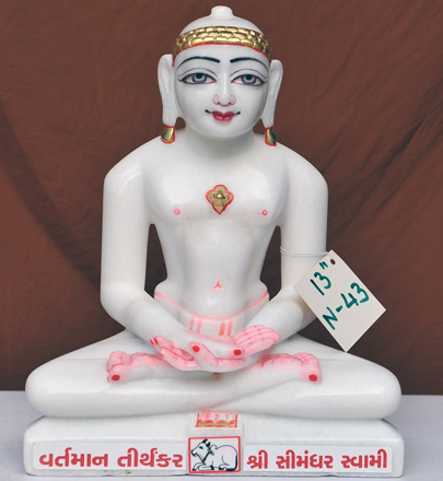 "Picture of 13N43 Normal White Simandhar Swami 13"" Murti 13N43"