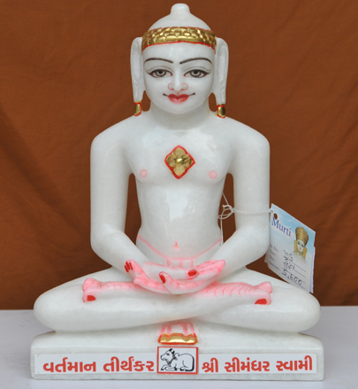 "Picture of 11SW46 Super White Simandhar Swami 11"" Murti 11SW46"