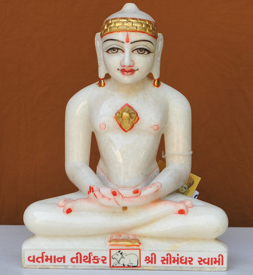"""Picture of 11NW58 Normal White Simandhar Swami 11"""" Murti 11NW58"""