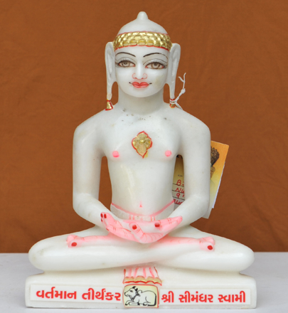 "Picture of 9NW30 Normal White Simandhar Swami 9"" Murti 9N30"