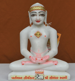 """Picture of 9NW48 Normal White Simandhar Swami 9"""" Murti 9N48"""