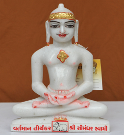 "Picture of 9NW53 Normal White Simandhar Swami 9"" Murti 9N53"